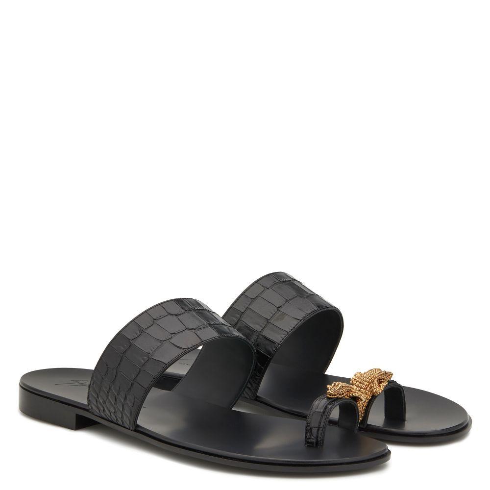 NORBERT CROCO - Black - Sandals